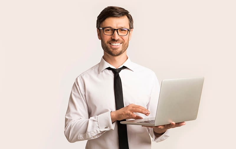Successsful Man Working On Laptop