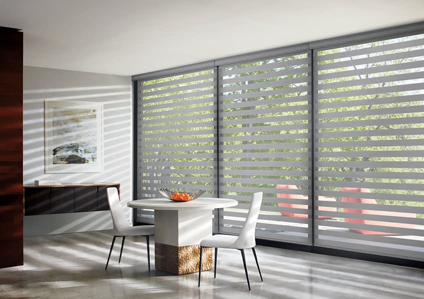 Banded Shades in a Dining Room
